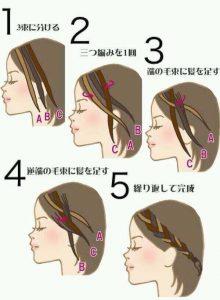 前髪を編み込む